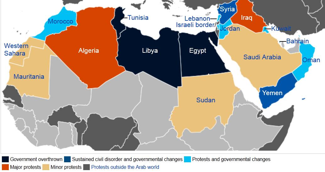 Arabiska våren, utbredning