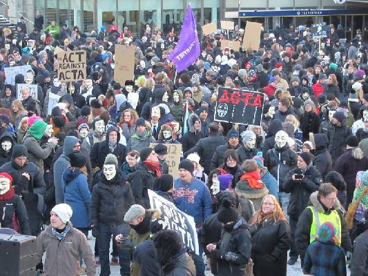 Demonstration mot ACTA i Stockholm